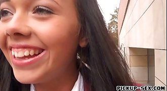 Euro teen in uniform pounded by stranger dude for money