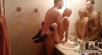 Skinny Blonde Teenager chick Bathroom Sex